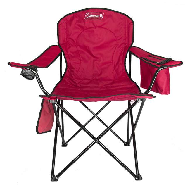 2000032009 + 2 x 2000032008 Coleman Folding Chair w/ Cooler & Cup Holder, Red & Blue (4 Pack) 1