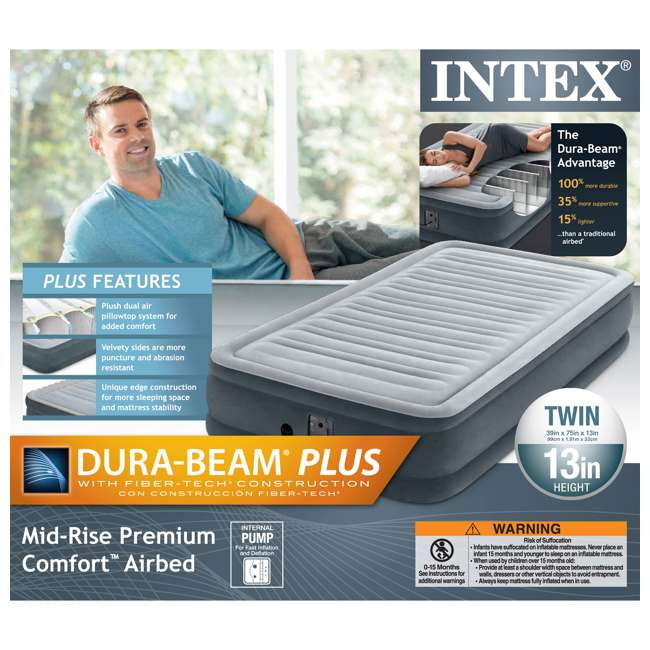 67765EP-U-A Intex Comfort Plush Dura Beam Mid Rise Airbed w/ Internal Pump, Twin (Open Box) 5