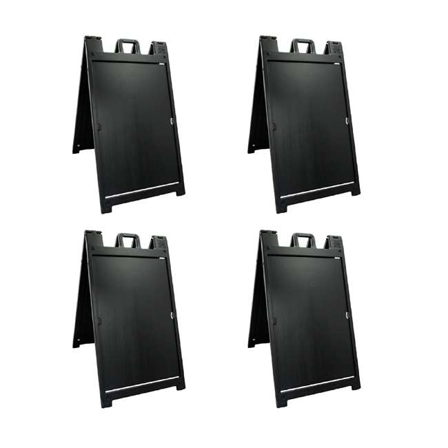 4 x 140NSBK Plasticade Deluxe Signicade Double-Sided Sign Stand, Black (4 Pack)