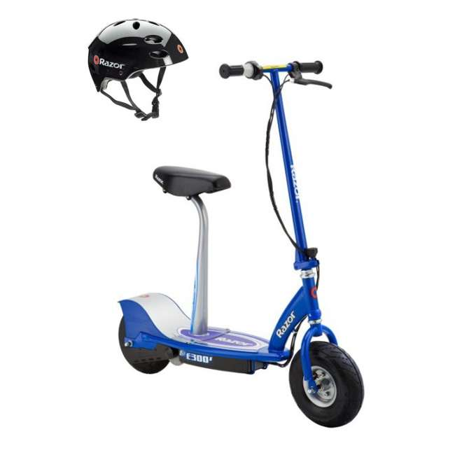 13116240 + 97778 Razor E300S Seated Electric Scooter (Blue) & Youth Helmet (Black)
