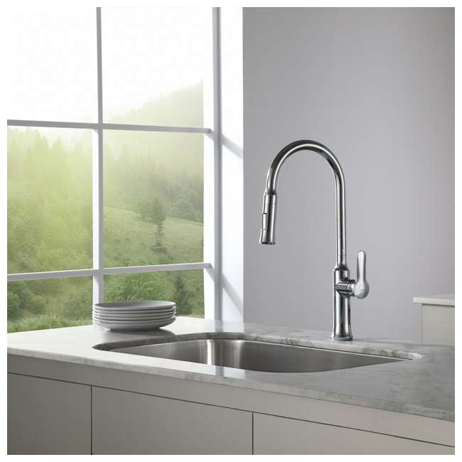 4 x KPF-1630SS Kraus Nola Single Lever Pull-Down Kitchen Faucet, Stainless Steel (4 Pack) 6