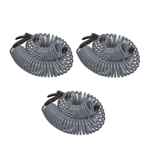 3 x ORBIT-27560 Orbit 50-Foot Gray Coil Garden Hose with 8 Sprays (3 Pack)