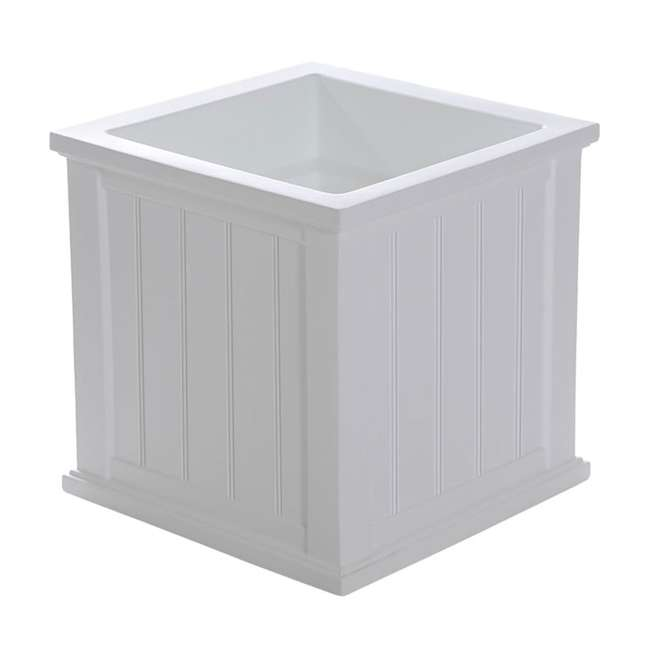 MO-4838-W Mayne Cape Cod Large 20 In Square Plastic Outdoor Flower Pot Planter Box, White 1