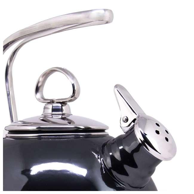 37-18S-ME Chantal 1.8 Quart Enamel Stove Whistling Tea Pot, Onyx (2 Pack) 4