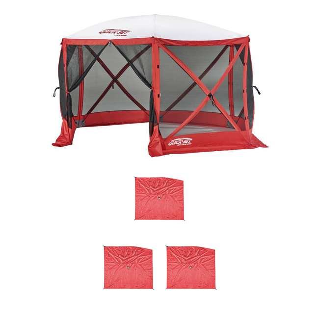 CLAM-ESS-14200 + CLAM-WP-ESS-14204 Clam Quick Set Tailgating Shelter + Wind & Sun Panels (3 pack)