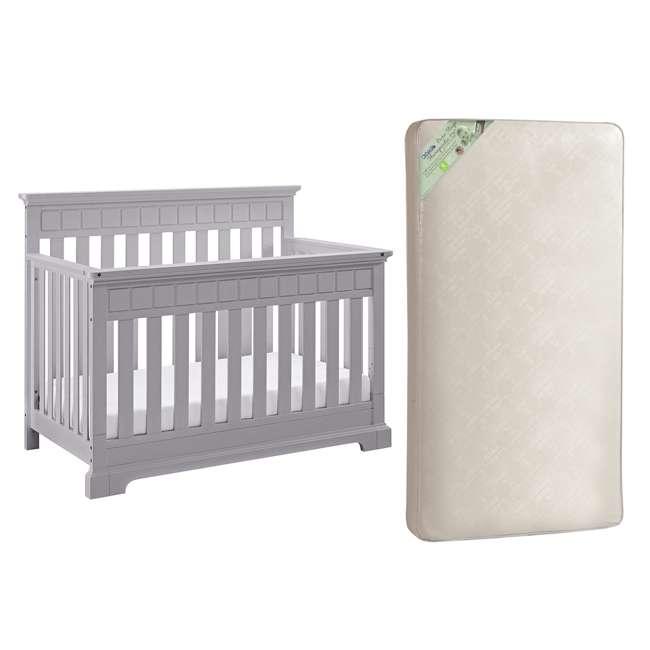 04565-50F + KM301-WGT1 Thomasville Kids Willow Crib, Pebble Gray & Kolcraft Pure Sleep Mattress