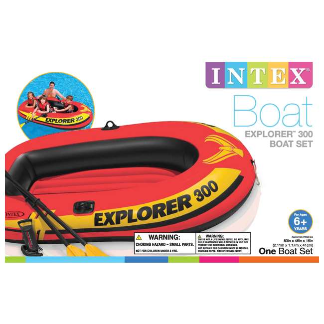 58332EP-U-A Intex Explorer 300 Compact Inflatable Three Person Raft Boat 58332EP (Open Box) 3
