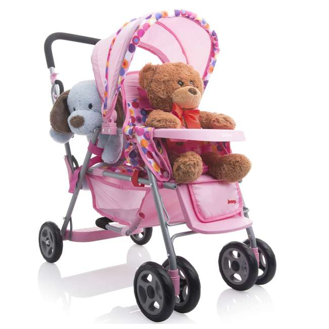 JVY-042 + JVY-002 Joovy Toy Doll Caboose Pretend Play Stroller & Car Seat, Pink Dot 2