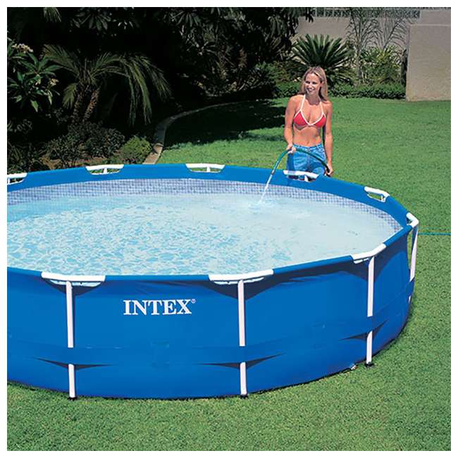 28211EH-U-A Intex 12 x 2.5 Foot Metal Frame Above Ground Pool and Filter (Open Box) (2 Pack) 5