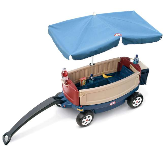 618031M-U-B Little Tikes Kids Ride and Relax Toy Pull Wagon with Umbrella and Cooler (Used) 1