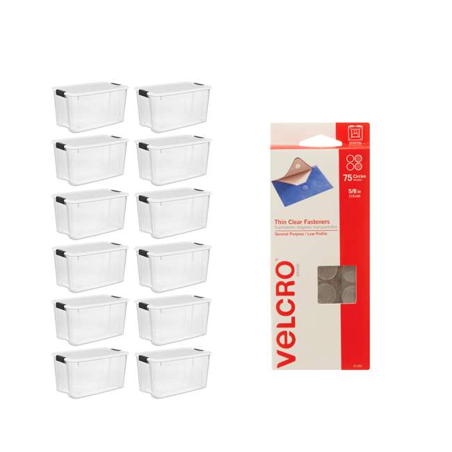12 x 19889804 + 91302 Sterilite 70 Qt Storage Box (12 Pack) Bundled with VELCRO® Brand Fasteners (75 Pack)