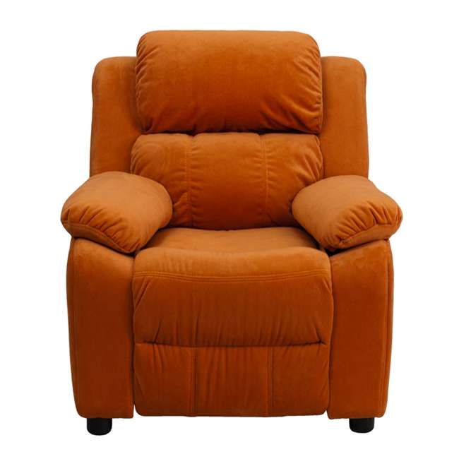 BT-7985-KID-MIC-ORG-GG Flash Furniture Deluxe Padded Orange Microfiber Kids Recliner with Storage Arms