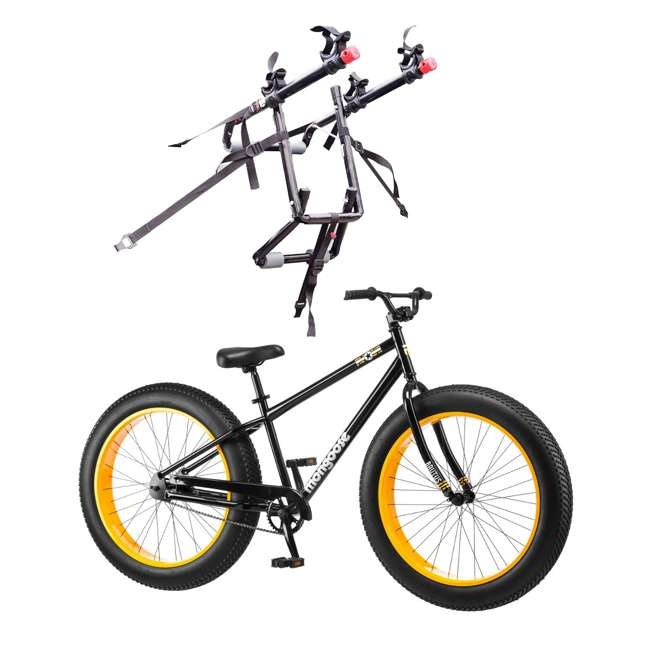 "R4140 + 102DN-R Mongoose 26"" Brutus Mens Alloy All Terrain Mountain Bike & 2 Bike Car Trunk Rack"