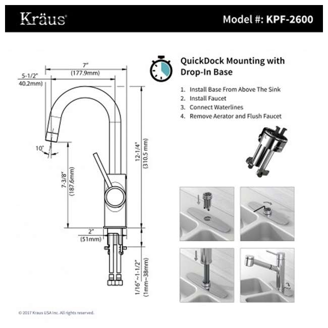 KPF-2600SFS-OB Kraus Oletto Kitchen Bar Faucet, Spot Free Stainless Steel (Open Box) 3
