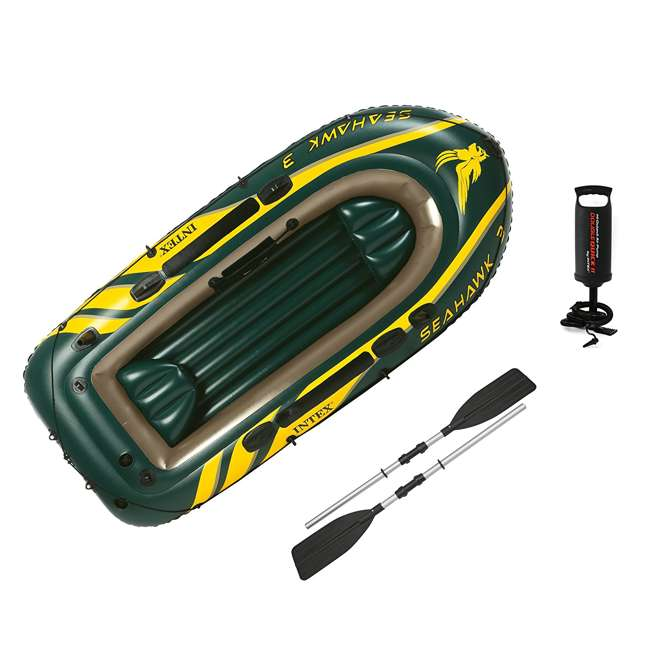 68380EP + 2 x 68631E Intex Seahawk 3 Inflatable raft Set and 2 Trolling Motors 2