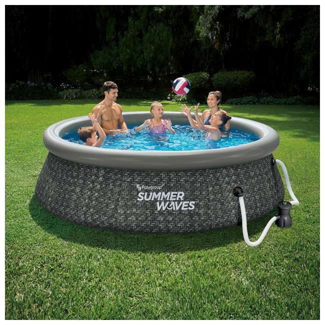P1A01030A167 Summer Waves 10 x 2.5 Foot Quick Set Ring Above Ground Pool w/ Pump, Dark Wicker 1