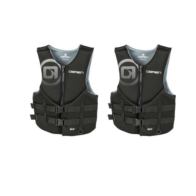 2181866-MW OBrien Biolite Traditional Men's Life Vest Size L, Black (2 Pack)