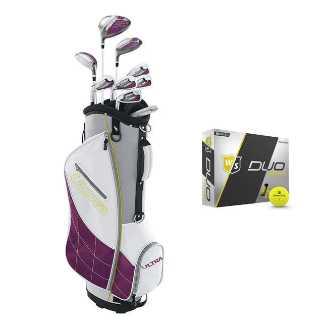 WGGC4340L + WGWP40150 Wilson Ultra Ladies Left-Hand Super Long Golf Club Bag Set & Balls