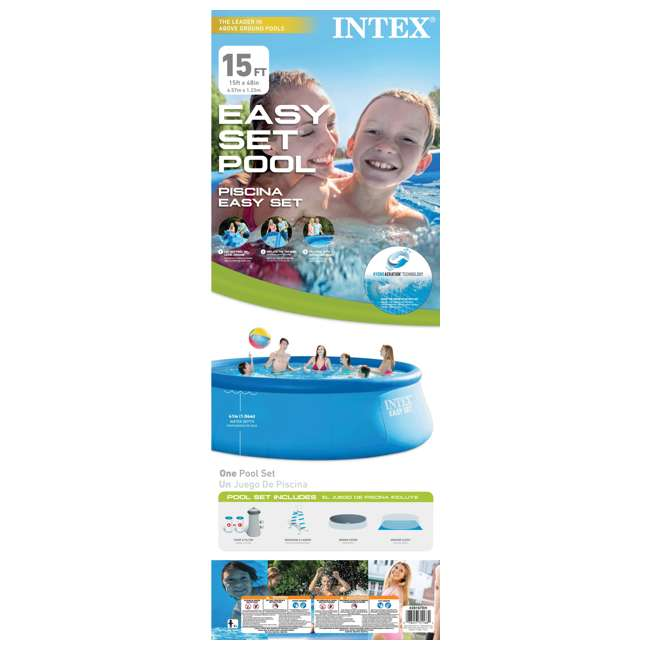 "26167EH Intex 15' x 48"" Inflatable Easy Set Above Ground Swimming Pool 7"