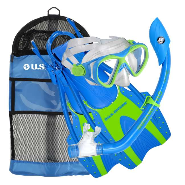 241700 U.S. Divers L/XL Youth Buzz Junior Snorkeling Mask and Fin Diving Bag Set, Blue
