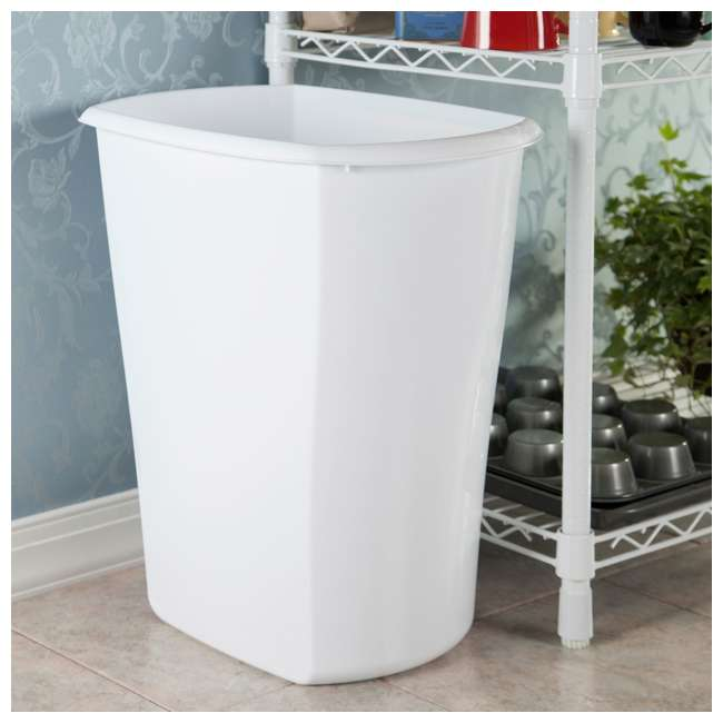 12 x 10538006 Sterilite 10538006 10 Gallon White Ultra Plastic Wastebasket Trash Can (12 Pack) 4