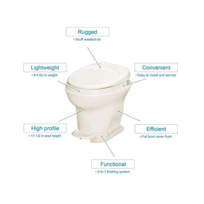31672 Thetford 31672 Aqua Magic V Pedal Flush RV Travel High Profile Toilet, Parchment 1