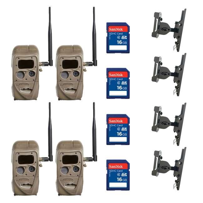 4 x J1422-BLACKFLASH + 4 x SD4-16GB-SAN + 4 x 3488 Cuddeback 20MP IR Game Camera (4pk) + 16GB SD Card (4pk) + Camera Mount (4pk)