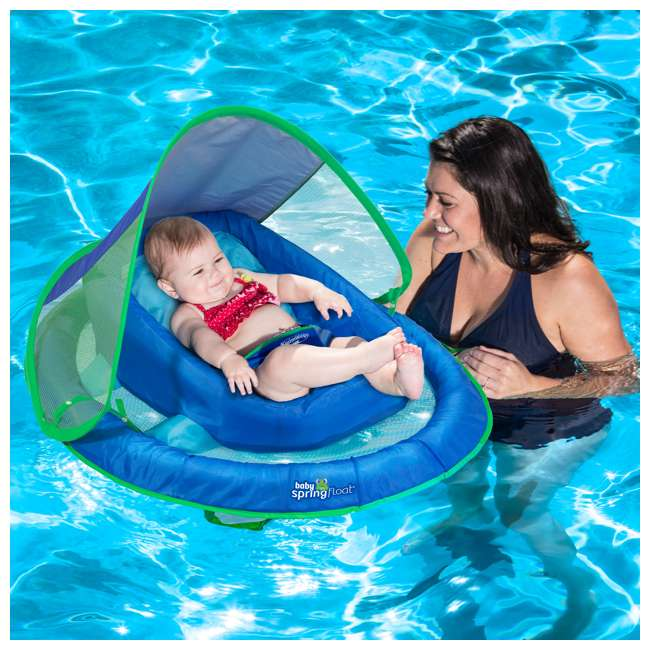 6044189-SW SwimWays Inflatable Baby Pool Float w/ Canopy, Blue (2 Pack) 2