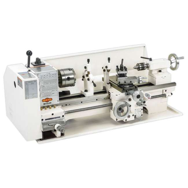 M1049 Shop Fox M1049 9 by 19 Inch Bench Top Metal Lathe with Three Jaw Scroll Chuck