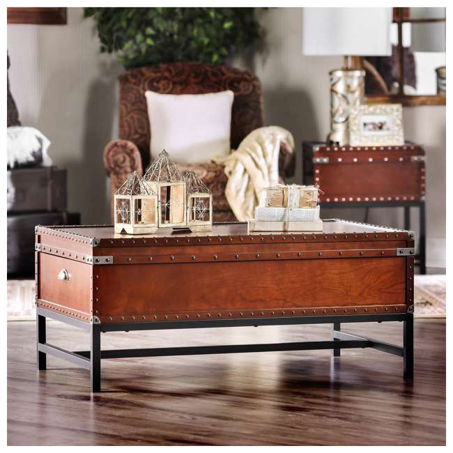 IDF-4110C Furniture of America Cassone Trunk Style Coffee Table, Cherry 1