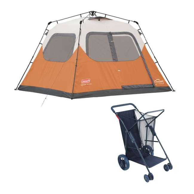 2000017933 + RIOWWC5-4670 Coleman Outdoor 6-Person Camping Tent & Wheeled Utility Cart