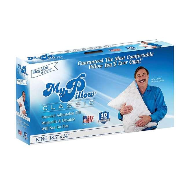 MP-KG-MF MyPillow Classic Series Foam King Sized Bed Deep Sleep Pillow, White Medium Fill