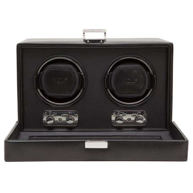 270102 WOLF 270102 Heritage Compact Electric Double Watch Winder Case with Cover, Black 1