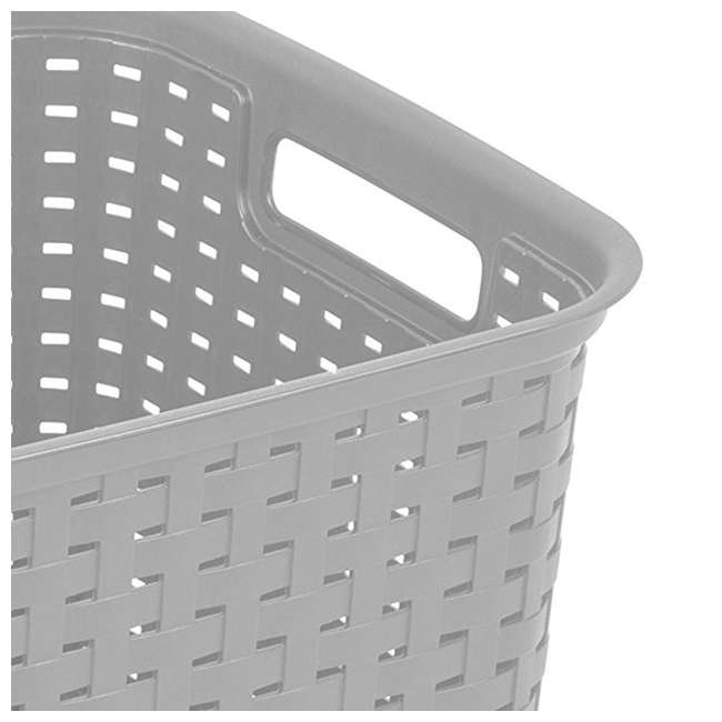 6 x 12736A06-U-A Sterilite Tall Weave Plastic Laundry Hamper Storage, Gray (Open Box) (6 Pack) 4
