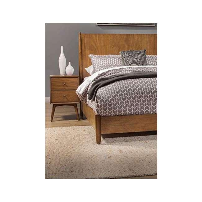 966-02 Alpine Furniture 966-02 Flynn Mid Century Modern 2 Drawer Nightstand, Acorn 4