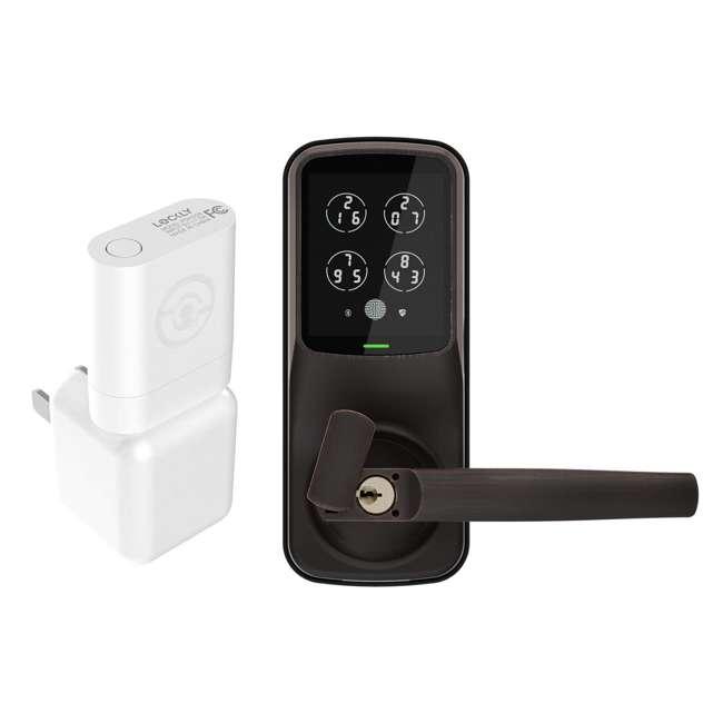 PGH200 + PGD628FVB Lockly Secure Link WiFi Smart Hub Door Sensor & Keyless Entry Door Handle
