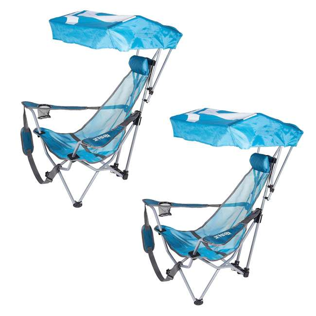 80163-SW Kelsyus Backpack Beach Folding Lawn Chair with Canopy, Teal (2 Pack)