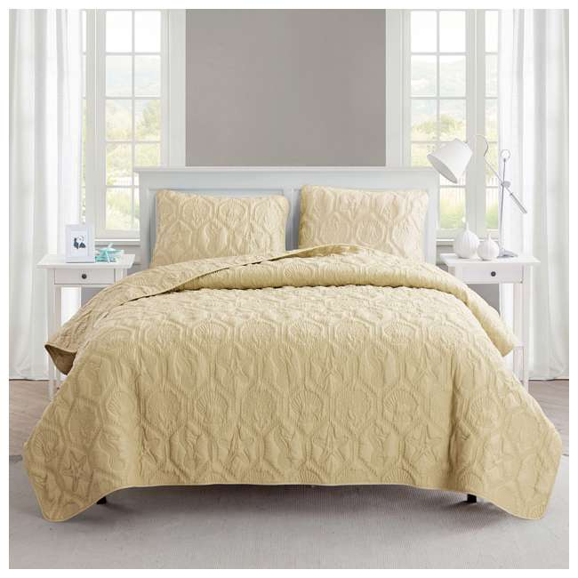 SHO-3QT-KING-IN-TAN VCNY Home Shore Tan 3 Piece Reversible Bed Quilt and 2 Pillow Shams Set, King 1
