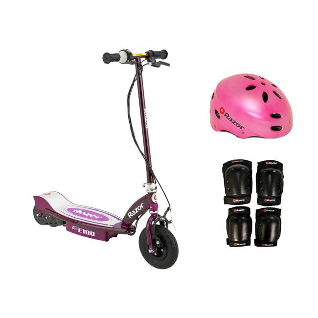 13111250 + 97783 + 96784 Razor E100 Electric Motorized Scooter, With Child Helmet, Elbow & Knee Pad Set
