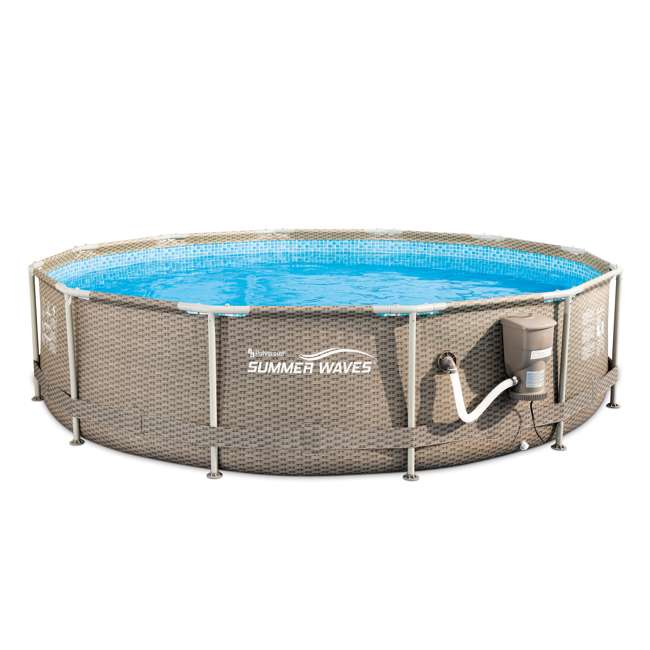 P20012335167 Summer Waves 12 foot x 30 inch Active Swimming Pool with Weave Wicker Exterior