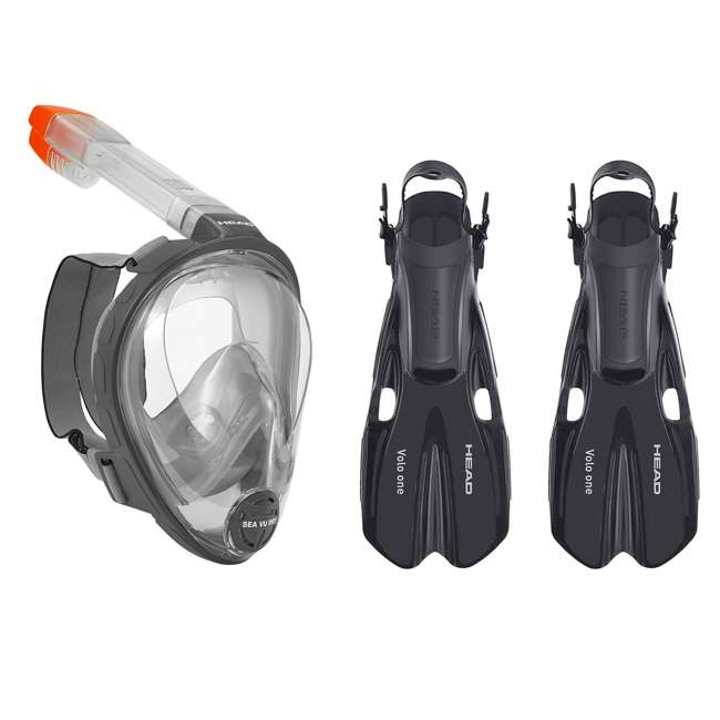 496325-BKBKS-M + 480203-SFBKSM Head Sea Gray Snorkeling Mask & Black Fins, Medium