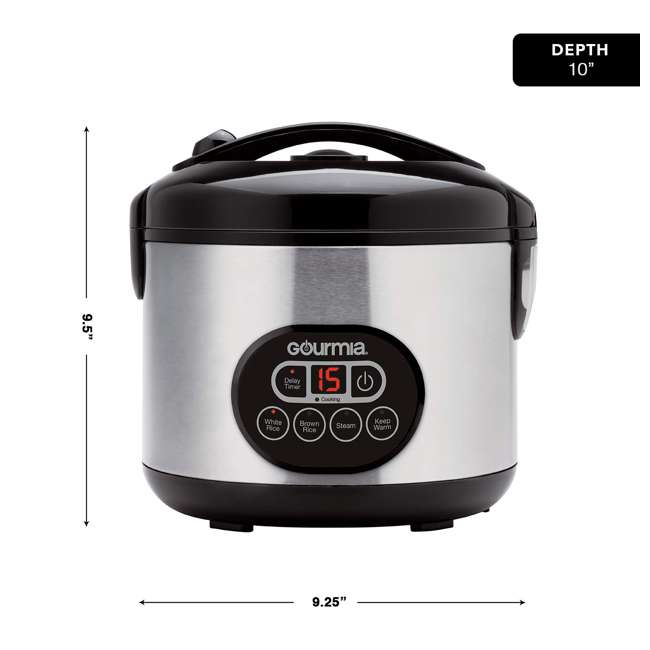 GRC770B Gourmia 12 Cup Multi Function Rice Cooker with Steam Basket, Stainless Steel 1