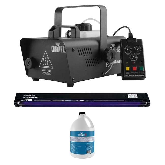 H1200 + BLACK-48BLB + FJU CHAUVET DJ Hurricane 1200 1.0L Fog Machine + 48 Inch UV Black Light + Fog Juice