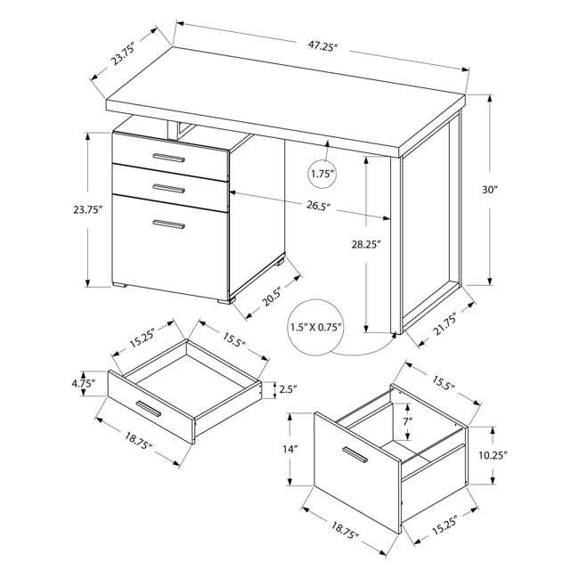 VM-7226 Monarch Specialties 48 Inch Industrial Design Office Computer Desk, Natural 3