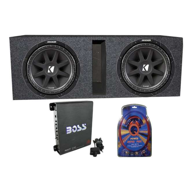43C104 + QBASS10 + R1100M + 4GAMPKIT-SFLEX Kicker 10C104 10-Inch 600W Subwoofers with Box with 1100W Amplifier with Wire Kit (Pair)