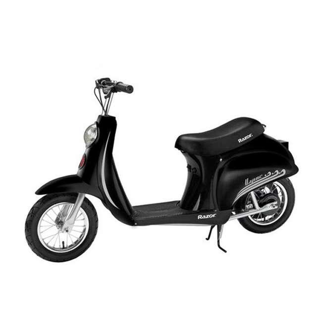 15130656 + 15130601 + 2 x 97778 Razor Pocket Mod Miniature Electric Scooters, 1 Red & 1 Black + Helmets 2