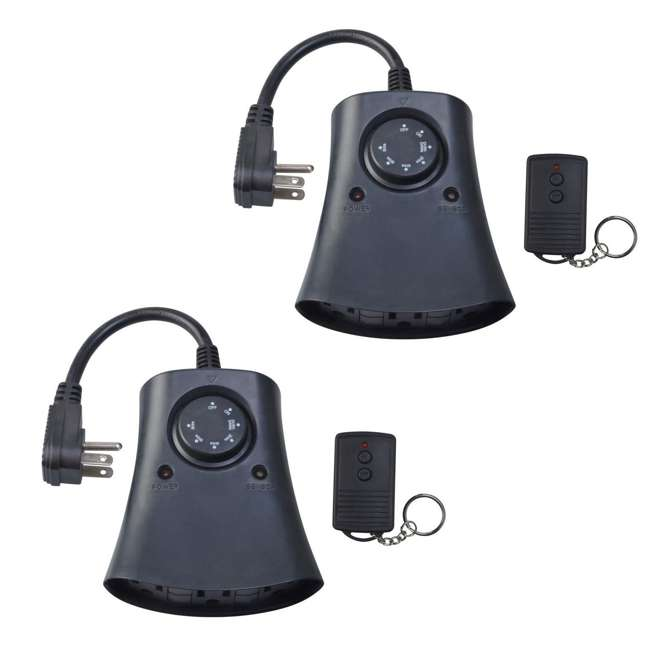 59746WD Woods Outdoor 24 Hour 3-Outlet Timer with Wireless Remote (2 Pack)