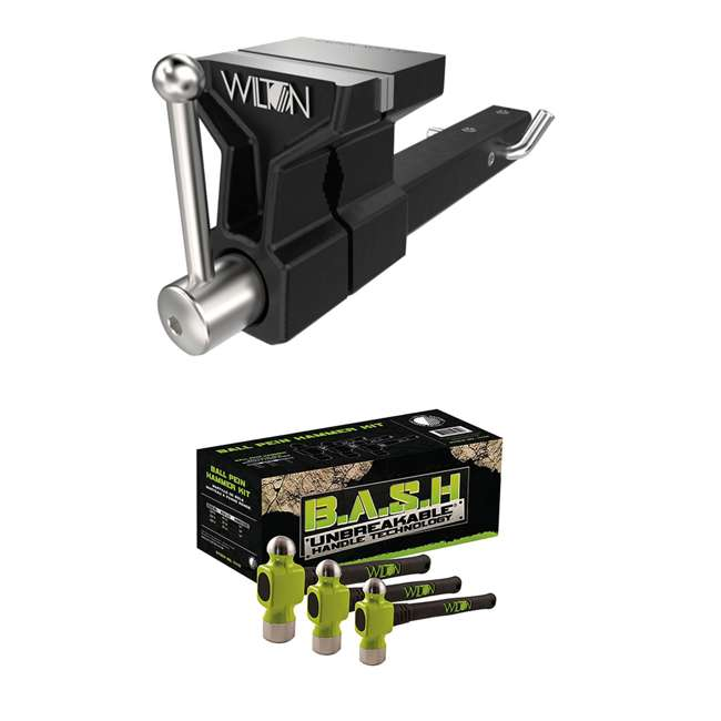 WIL-10025 + JPW-11110 Wilton 5 Inch ATV All Terrain Hitch Mounted Vise + 3 Piece Ball Peen Hammer Kit