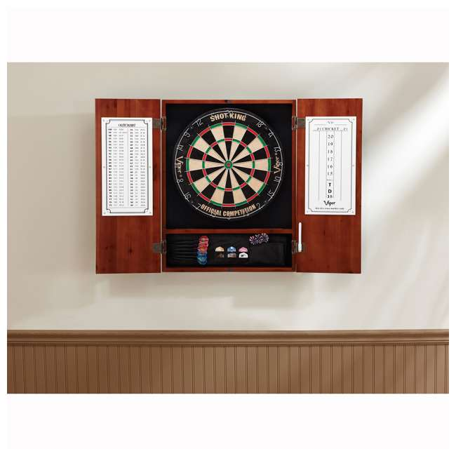 VIP40-0405-U-A Viper Cinnamon Finish Sisal Bristle Steel Tip Dartboard Cabinet (Open Box) 3