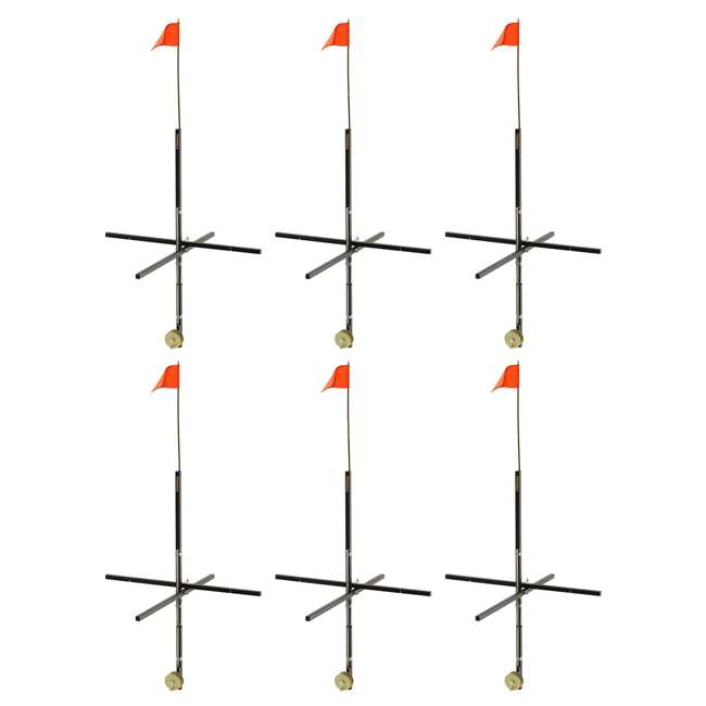 6 x 1720 Frabill Deep Snow Ice Fishing Wood Stick Tip Up Trap with 32 Inch Flag (6 Pack)